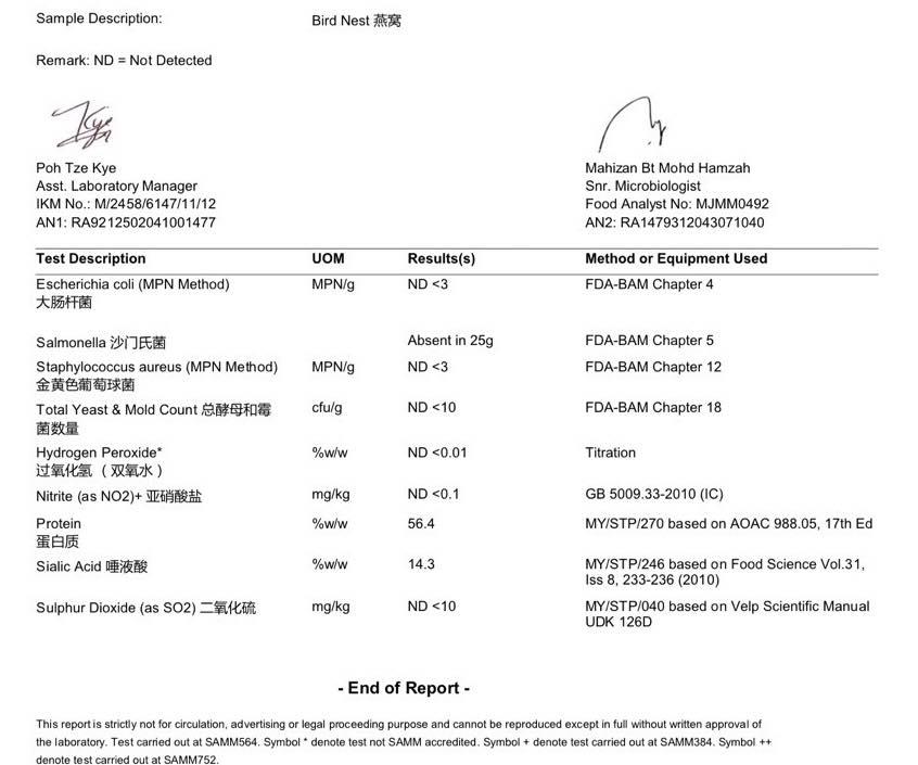 湿挑燕盏的检测报告